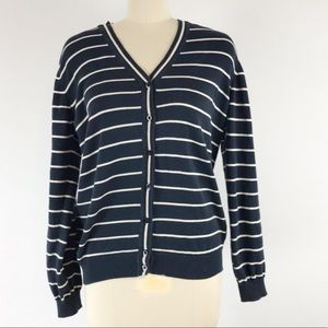 Barbour navy and cream striped v neck cardigan
